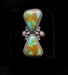 Huge Gloria Begay Navajo 2-stone Turquoise Sterling Silver Ring sz8-1/2