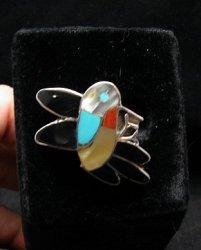 Ella Gia ~ Zuni ~ Inlaid Hummingbird Silver RIng sz7-1/2