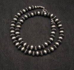 Native American Fluted Bead Navajo Pearls Sterling Silver Necklace 20-inch