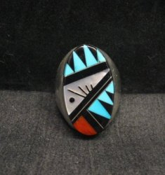 Large Zuni Multi Stone Inlay Ring, Cleo Kallestewa, sz11