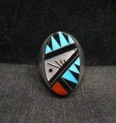 Large Zuni Multi Stone Inlay Ring, Cleo Kallestewa, sz10-3/4