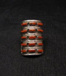 Zuni Indian Jewelry Coral Sterling Silver Ring sz5-1/2 - Connie Hattie