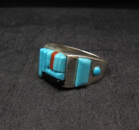 Image 1 of Zuni Turquoise Multi Cobblestone Inlay Silver Ring sz10-1/2, Bevis Tsadiasi