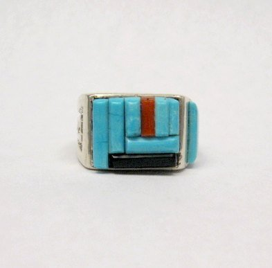 Image 3 of Zuni Turquoise Multi Cobblestone Inlay Silver Ring sz10-1/2, Bevis Tsadiasi