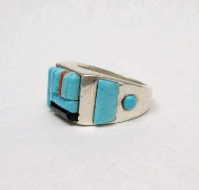 Image 5 of Zuni Turquoise Multi Cobblestone Inlay Silver Ring sz10-1/2, Bevis Tsadiasi