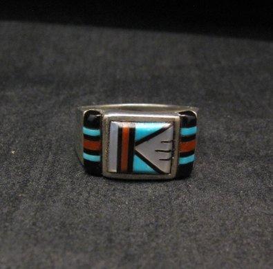 Image 0 of Zuni Native American Multi Stone Inlay Ring, sz9-3/4