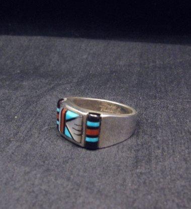 Image 1 of Zuni Native American Multi Stone Inlay Ring, sz9-3/4
