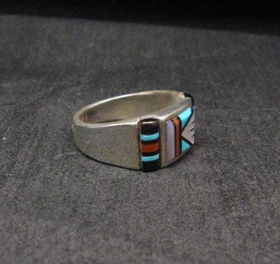 Image 2 of Zuni Native American Multi Stone Inlay Ring, sz9-3/4