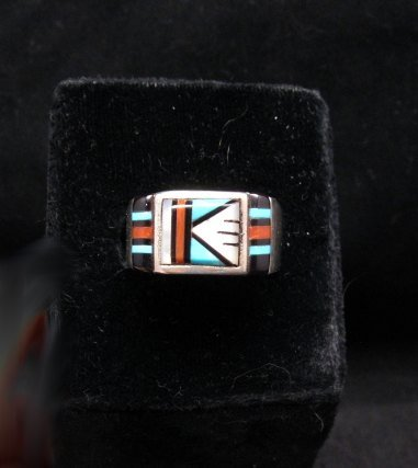 Image 4 of Zuni Native American Multi Stone Inlay Ring, sz9-3/4