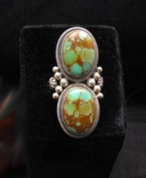 Gloria Begay Navajo 2-stone Kingman Turquoise Sterling Silver Ring sz8