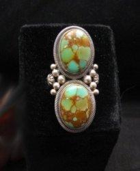 Gloria Begay Navajo 2-stone Kingman Turquoise Sterling Silver Ring sz8
