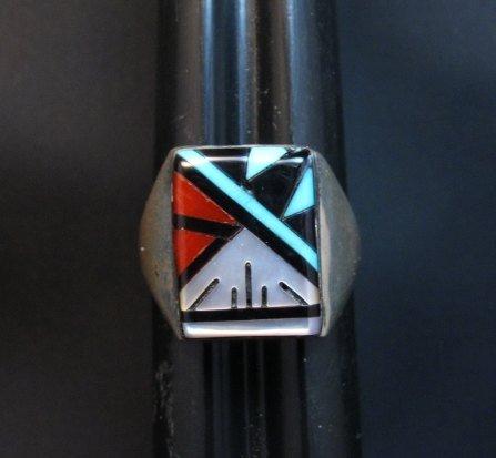 Image 0 of Rectangular Zuni Multi Stone Inlay Ring, Gladys Lamy Sz10-1/4