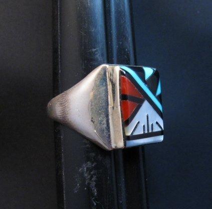 Image 1 of Rectangular Zuni Multi Stone Inlay Ring, Gladys Lamy Sz10-1/4