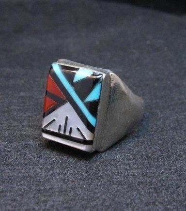 Image 2 of Rectangular Zuni Multi Stone Inlay Ring, Gladys Lamy Sz10-1/4