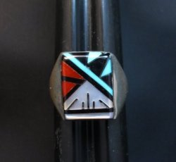 Rectangular Zuni Multi Stone Inlay Ring, Gladys Lamy Sz10-1/4