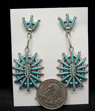 Image 1 of Zuni Native American Needle Point Turquoise and Silver Dangle Earrings