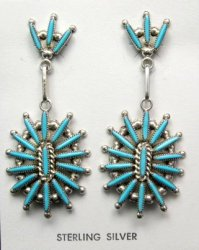 Zuni Native American Needle Point Turquoise and Silver Dangle Earrings