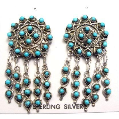 Image 0 of Zuni Native American Turquoise & Sterling Silver Dangle Post Earrings