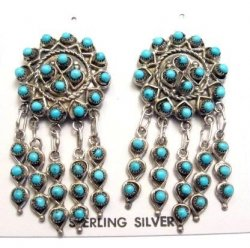 Zuni Native American Turquoise & Sterling Silver Dangle Post Earrings