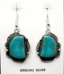 Navajo Native American Turquoise Silver Earrings, Sheila Tso