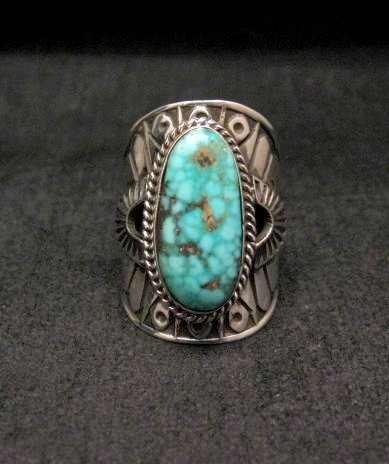 Image 0 of Navajo Natural Turquoise Sterling Silver Ring Sz6-1/2, Derrick Gordon