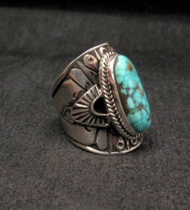 Image 1 of Navajo Natural Turquoise Sterling Silver Ring Sz6-1/2, Derrick Gordon