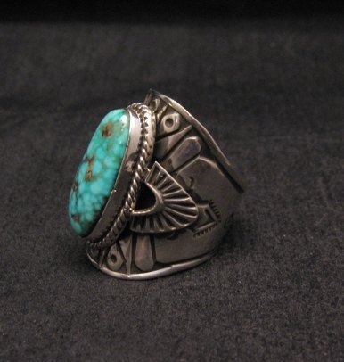 Image 2 of Navajo Natural Turquoise Sterling Silver Ring Sz6-1/2, Derrick Gordon
