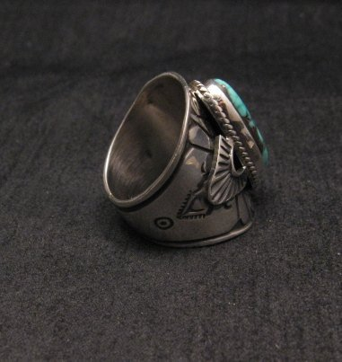 Image 3 of Navajo Natural Turquoise Sterling Silver Ring Sz6-1/2, Derrick Gordon