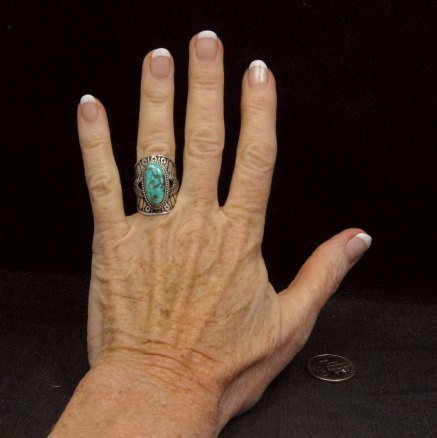Image 4 of Navajo Natural Turquoise Sterling Silver Ring Sz6-1/2, Derrick Gordon