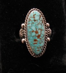 Native American Navajo Indian ~ Guy Hoskie ~ Turquoise S/S Ring sz8
