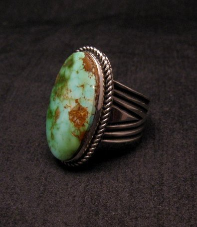 Image 2 of Albert Jake ~ Navajo ~ Native American Royston Turquoise Ring Sz9-11 adjustable