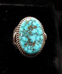 Albert Jake ~ Navajo ~ Native American Kingman Turquoise S/S Ring Sz8