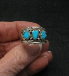 Native American Navajo Turquoise Sterling Silver Mens Ring sz10-1/2