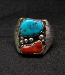 Native American Navajo Turquoise Coral Silver Ring sz13