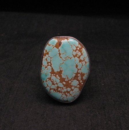 Image 0 of Native American Number #8 Turquoise Ring by Navajo Verdy Jake sz8 to sz10-1/2