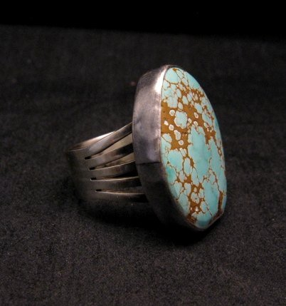 Image 1 of Native American Number #8 Turquoise Ring by Navajo Verdy Jake sz8 to sz10-1/2