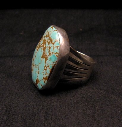 Image 2 of Native American Number #8 Turquoise Ring by Navajo Verdy Jake sz8 to sz10-1/2