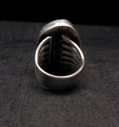 Image 3 of Native American Number #8 Turquoise Ring by Navajo Verdy Jake sz8 to sz10-1/2