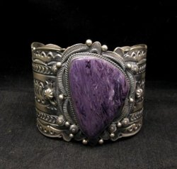 A++ Navajo American Indian Charoite Sterling Silver Bracelet, Gilbert Tom