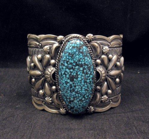 Image 0 of Wide Navajo Native American Kingman Web Turquoise Bracelet, Gilbert Tom