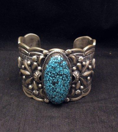 Image 1 of Wide Navajo Native American Kingman Web Turquoise Bracelet, Gilbert Tom