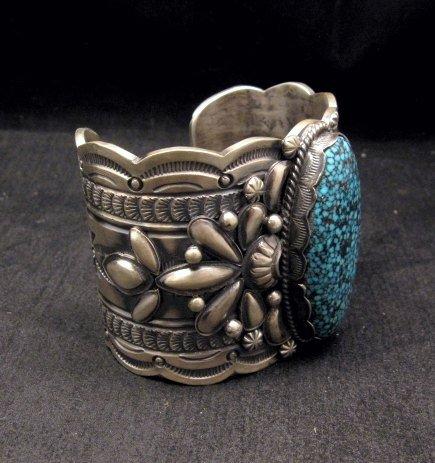 Image 2 of Wide Navajo Native American Kingman Web Turquoise Bracelet, Gilbert Tom
