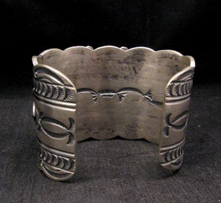 Image 4 of Wide Navajo Native American Kingman Web Turquoise Bracelet, Gilbert Tom