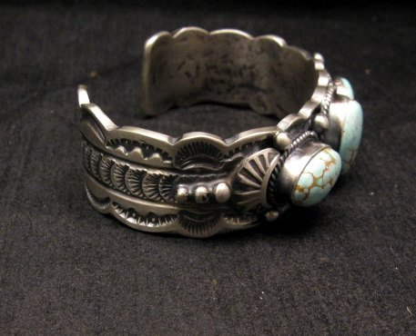 Image 3 of Navajo Native American Number 8 Turquoise Bracelet, Gilbert Tom