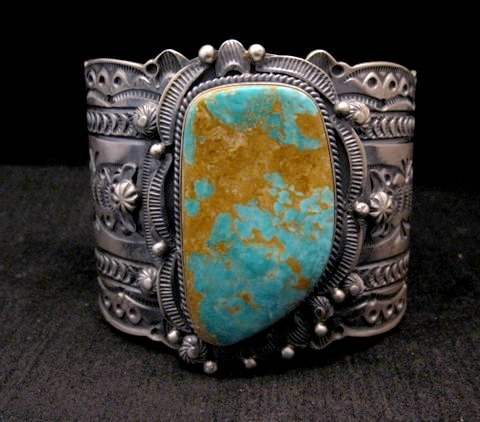 Image 0 of Wide Navajo Native American Royston Turquoise Sterling Bracelet, Gilbert Tom