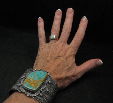 Image 5 of Wide Navajo Native American Royston Turquoise Sterling Bracelet, Gilbert Tom