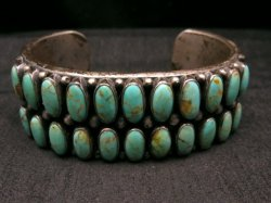 Old Navajo Kirk Smith Turquoise Silver Double Row Bracelet Large