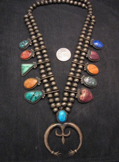 Image 1 of Pre-owned Navajo Old Style Multi-Gem Squash Blossom Necklace, P J Begay