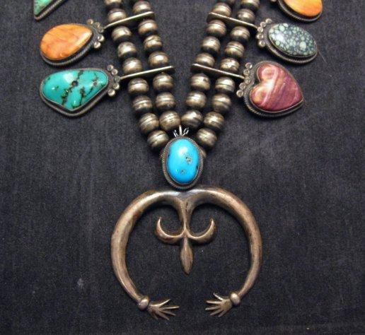 Image 2 of Old Navajo Indian Multi-Gem Squash Blossom Necklace, P J Begay