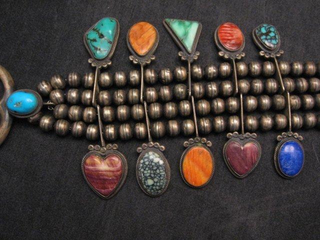 Image 3 of Old Navajo Indian Multi-Gem Squash Blossom Necklace, P J Begay